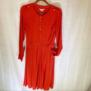 NEW Boden Christmas Red Dress brass buttons
